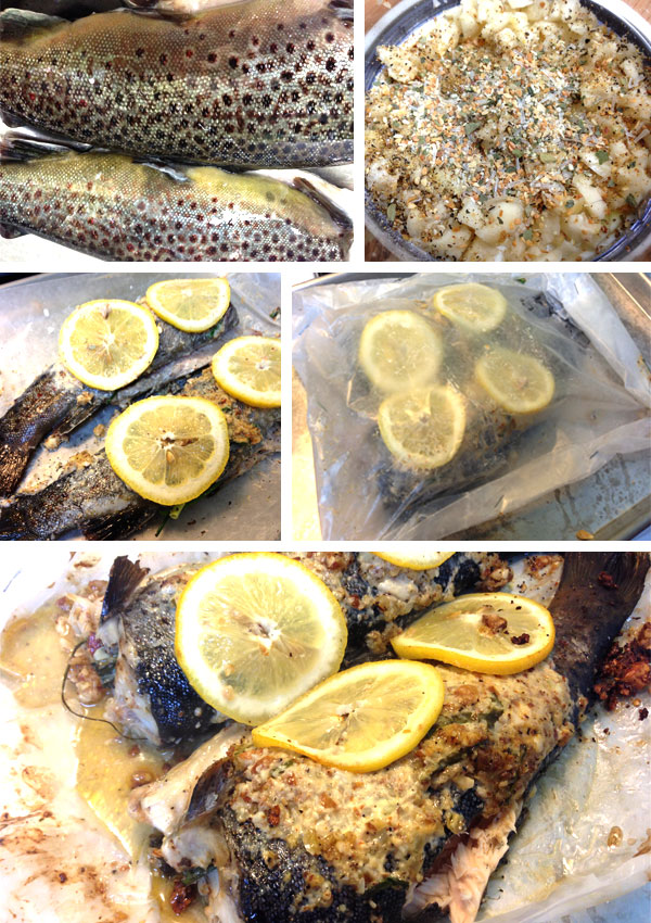 Steam baking trout